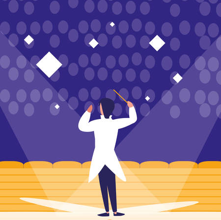 opera director at concert stage, colorful design. vector illustration