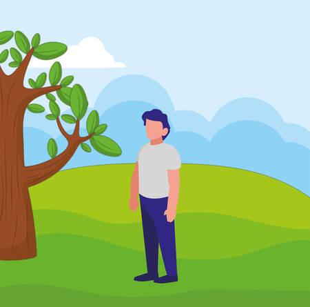 avatar man over landscape  background, vector illustration Illustration