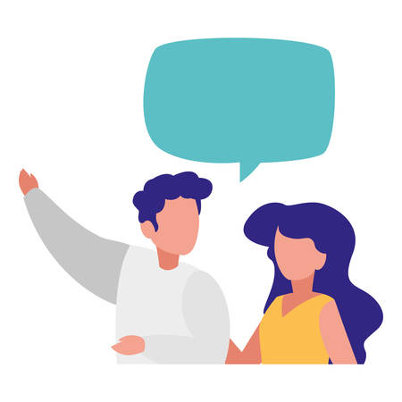woman and man with speech bubble over white background, vector illustration