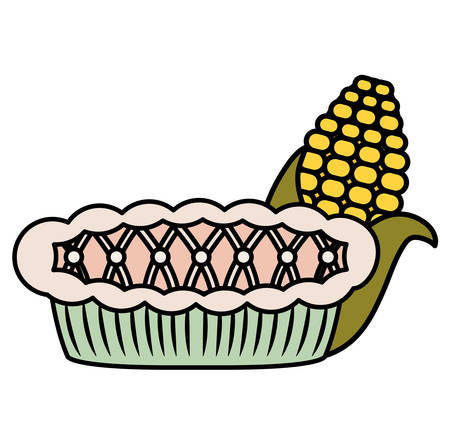 corn and apple pie icon over white background, vector illustration