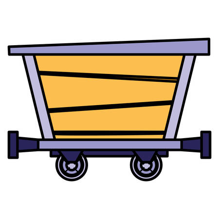 Mine wagon over white background, vector illustration