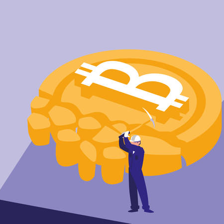 builder with pickaxe and disintegrated bitcoin coin over purple  background, vector illustration Vettoriali