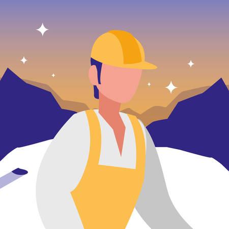 man with safety helmet over landscape background, vector illustration Vetores