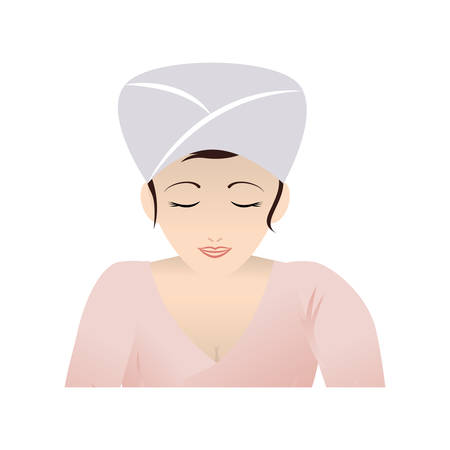 woman with towel relaxing vector illustration design Archivio Fotografico - 111766523