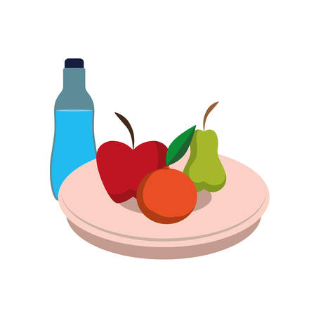 dish with fruits and water bottle vector illustration design