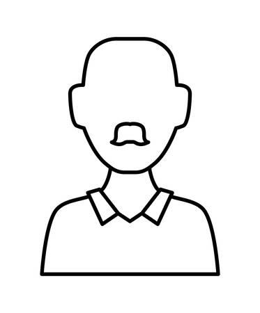 man bald with mustache vector illustration design 向量圖像