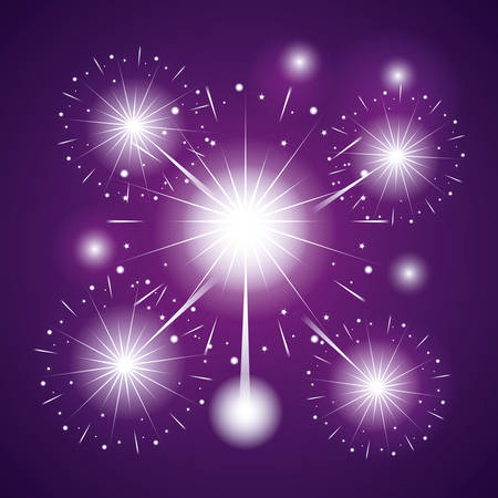 fireworks celebration scene background vector illustration design