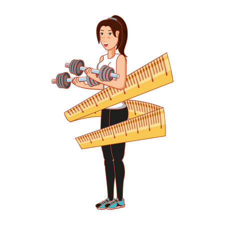 athletic woman with dumbbells sport and measuring tape vector illustration design