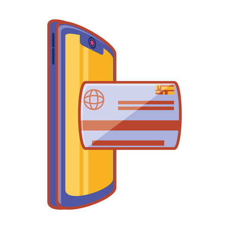 smartphone with credit card vector illustration design Ilustração