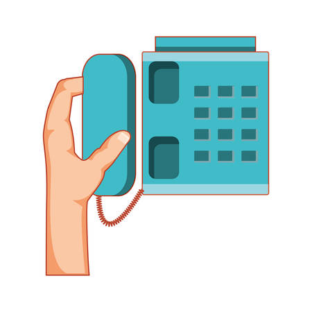 telephone service with hand vector illustration design