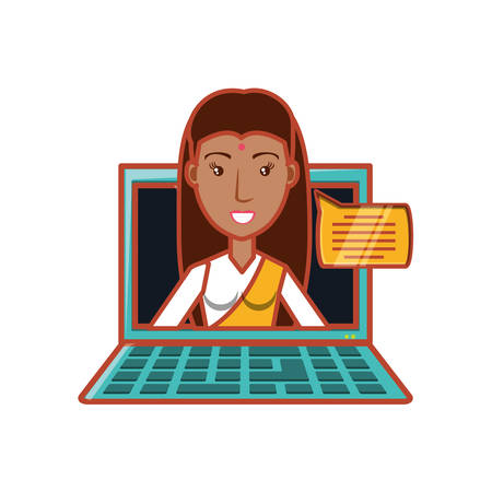 woman indian with laptop and speech bubble vector illustration design