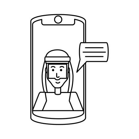 man arab in smartphone with speech bubble vector illustration design