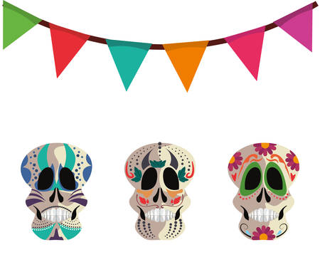 skulls and garland decoration day of the dead vector illustration Vectores