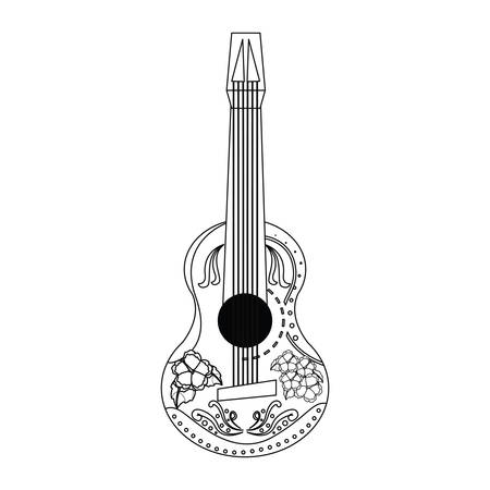 mexican guitars flowers day of the dead vector illustration