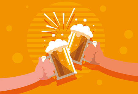 hands with beers jars toast isolated icon vector illustration design