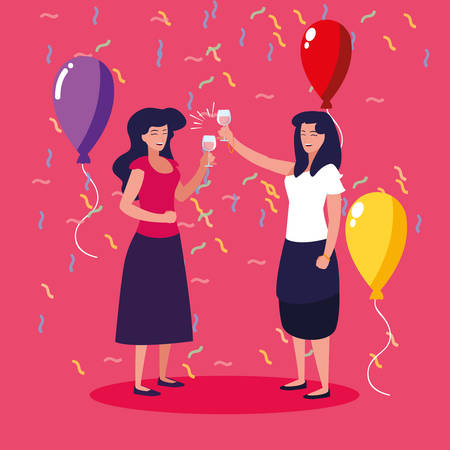 women happy celebrating party avatar character vector illustration design 일러스트