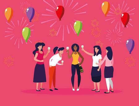 women happy celebrating party avatar character vector illustration design Çizim
