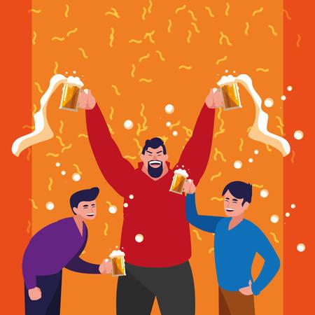 men happy celebrating party avatar character vector illustration design