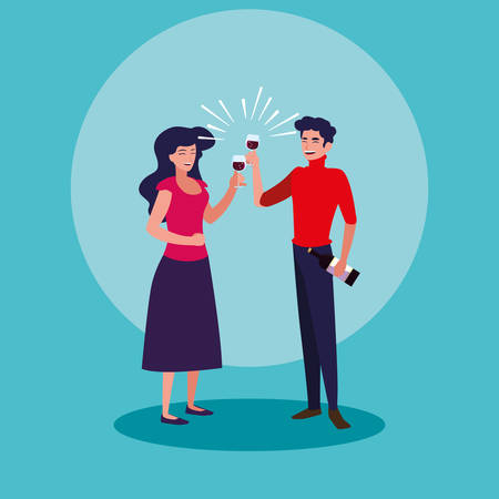 couple happy celebrating party avatar character vector illustration design