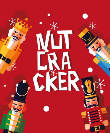 set of nutcracker toy isolated icon vector illustration design Stock Illustratie