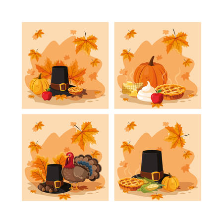 pilgrim hat of thanksgiving day with set icons vector illustration design