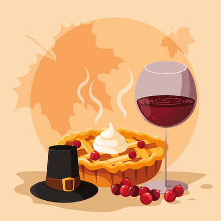 pilgrim hat with pie and cup wine vector illustration design