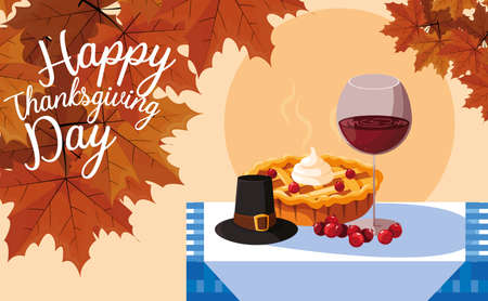 pilgrim hat with pie and cup wine in table vector illustration design