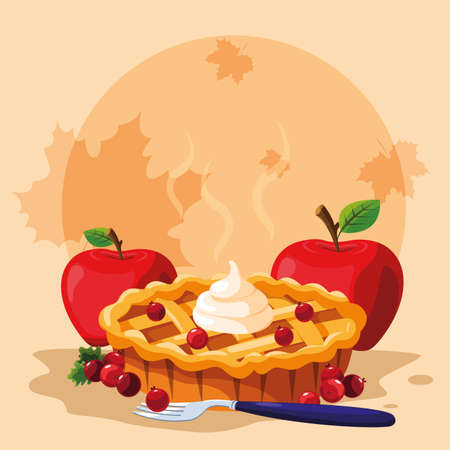 pie with apples for thanksgiving day vector illustration design Stock Photo