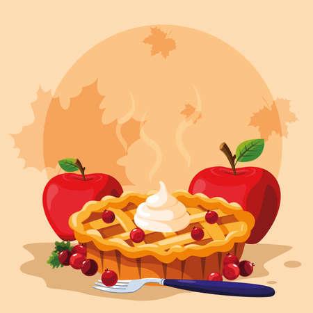 torta con mele per il giorno del ringraziamento illustrazione vettoriale design