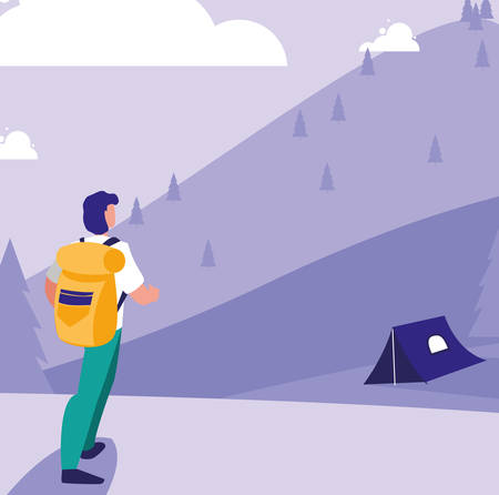 hiker with backpack over camping tents and mountains landscape background, vector illustration