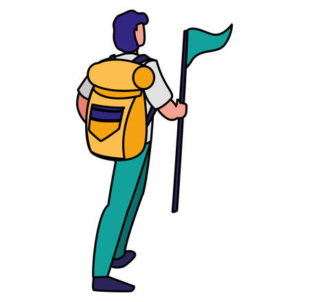 Hiking man with backpack and flag over white background, vector illustration