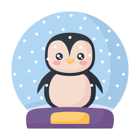 snowball with christmas penguin over white background, colorful design. vector illustration
