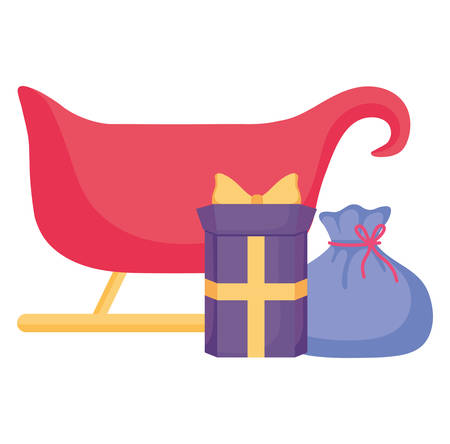 Christmas sled with gift box and sack over white background, vector illustration Standard-Bild - 127726146