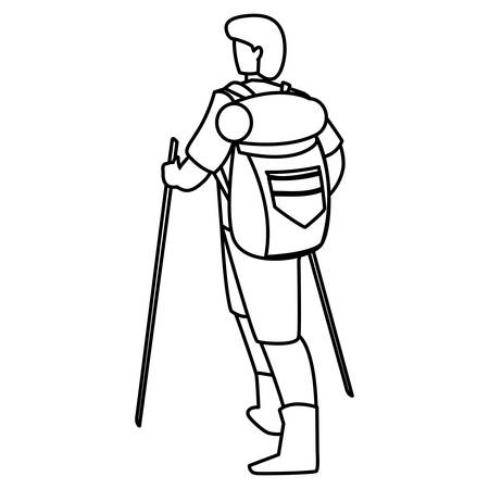 Hiking man with backpack and sticks over white background, vector illustration Иллюстрация