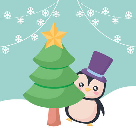 christmas pine with cute penguin over blue  background, vector illustration