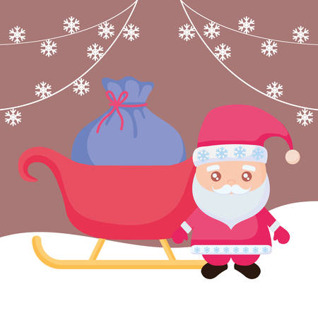 cartoon santa claus with sled with sack of gift boxes over brown background, vector illustration