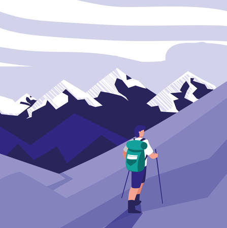 Hiking man with rucksack and stick on the mountains landscape background, vector illustration