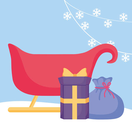 Christmas sled with gift box over blue background, vector illustration