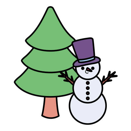 cartoon snowman and christmas pine over white background, vector illustration