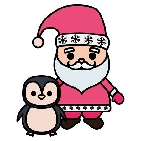 cartoon santa claus with cute penguin over white background, vector illustration