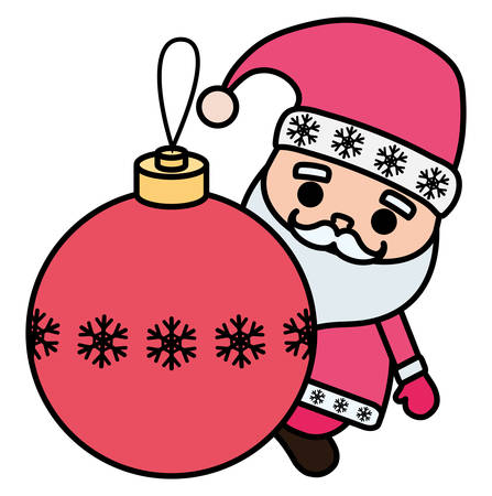 cartoon santa claus with christmas ball over white background, vector illustration Illustration