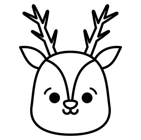 christmas deer icon over white background, vector illustration Vettoriali