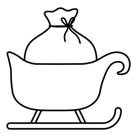 Christmas sled with santas sack over white background, vector illustration Standard-Bild - 127726314