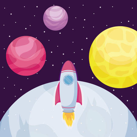 startup rocket with moon and planets vector illustration design