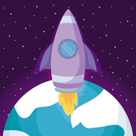 startup rocket with planet earth vector illustration design