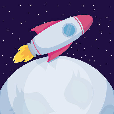 startup rocket with moons icon vector illustration design