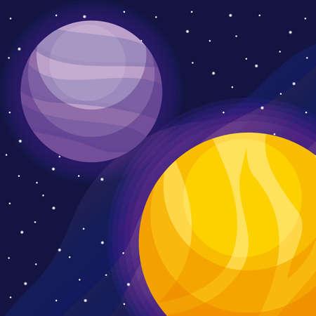 Planetas espacio universo icono diseño ilustración vectorial Ilustración de vector