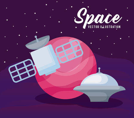 space satellite with planet and spaceship vector illustration design