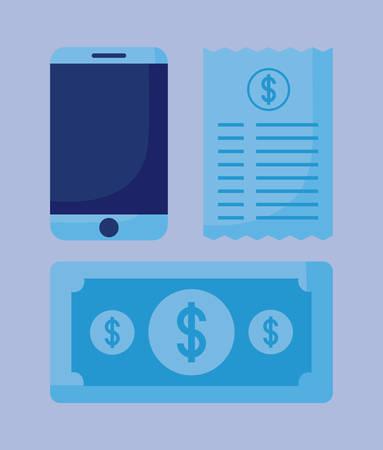smartphone with set icons economy finance vector illustration design
