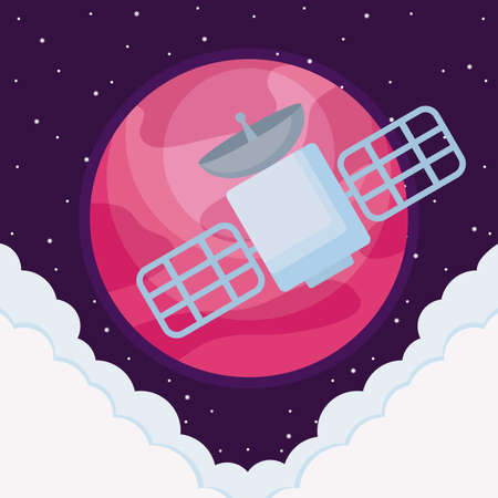 space satellite with planet earth and clouds vector illustration design  イラスト・ベクター素材